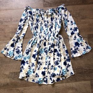 Blue and White Floral Off the Shoulder Dress